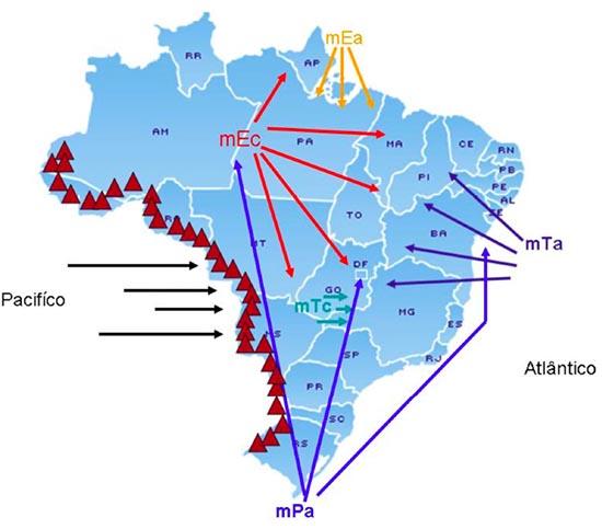 Resultado de imagem para massa equatorial continental secas no nordeste