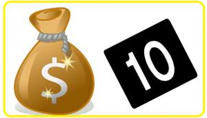 10 + saco de dinheiro