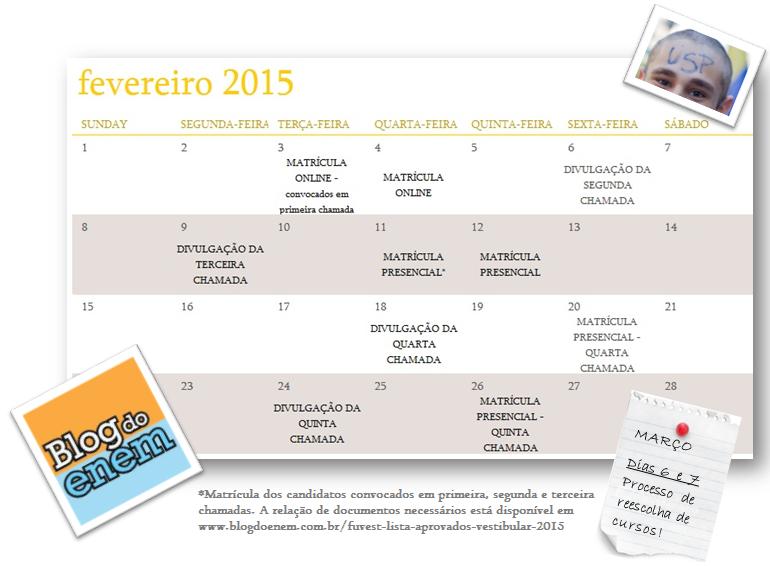 calendário fuvest aprovados 2015