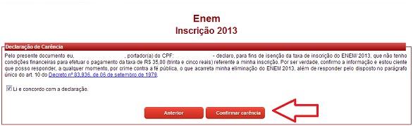 Carência Enem 2013