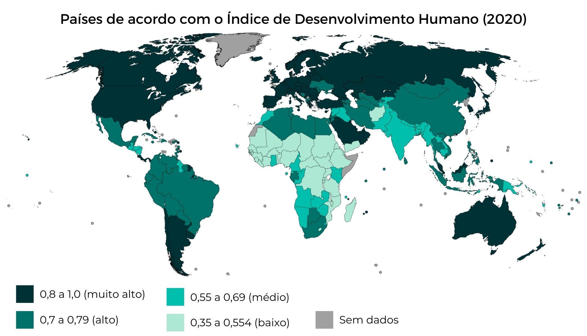 Países de acordo com o IDH