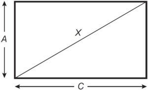 Retângulo AC cortado por uma diagonal X