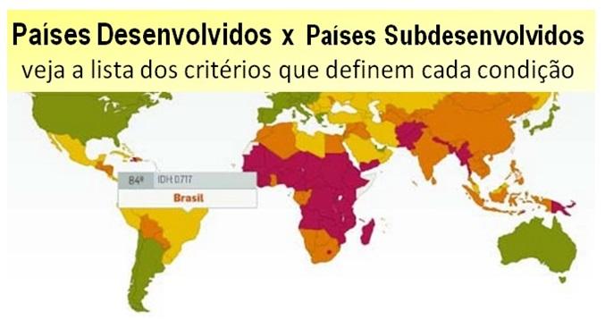 Países Desenvolvidos e Países Subdesenvolvidos