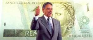 Fernando Henrique Cardoso e cédula de 1 Real
