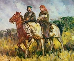 Garibaldi e Anita - tela de Guido Mondin