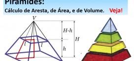 Pirâmide: cálculo de Aresta, Área, e de Volume. Matemática para  vestibular e Enem.