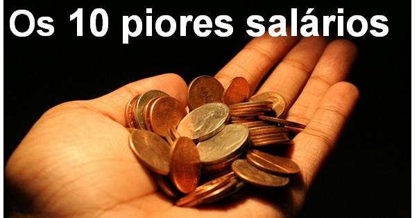profissões com os 10 piores salários