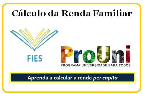 Cálculo da Renda Familiar Per Capita