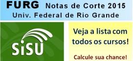 FURG – Notas de Corte Sisu 2015 na Universidade Federal de Rio Grande. Todos os cursos.