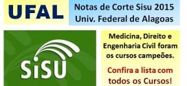 UFAL – Notas de Corte Sisu 2015 na Universidade Federal de Alagoas. Confira todos os cursos.