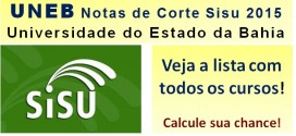 UNEB – Notas de Corte Sisu 2015 na Universidade do Estado da Bahia. Todos os cursos.