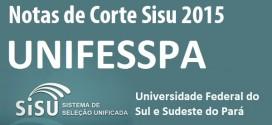 UNIFESSPA – Notas de Corte Sisu 2015 na Federal do Sul e Sudeste do Pará. Todos os cursos.