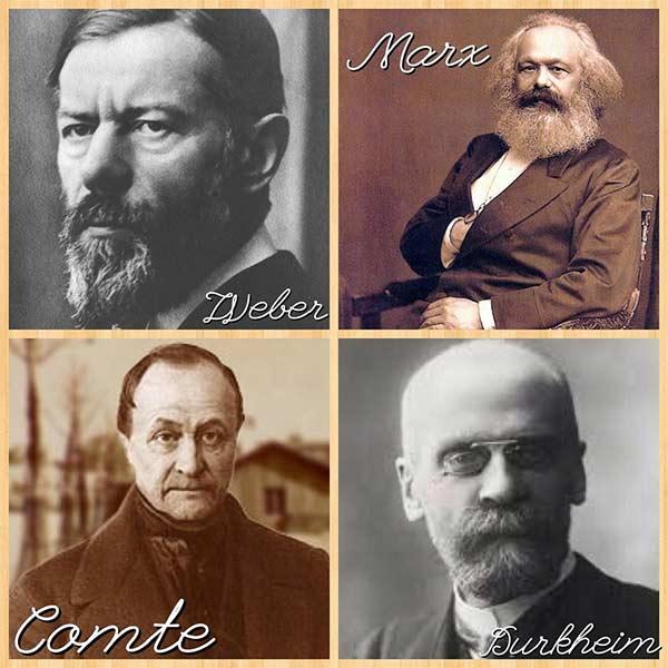 quatro autores clássicos da Sociologia: Weber, Marx, Comte e Durkheim