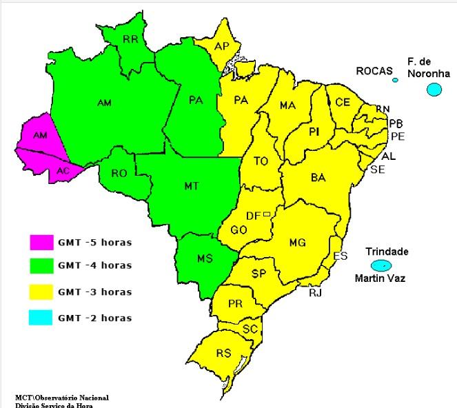 Os quatro fusos horários no Brasil