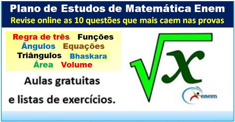 Plano de Estudos Matemática