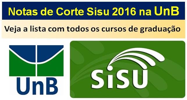 Notas de Corte Sisu 2016 na UnB