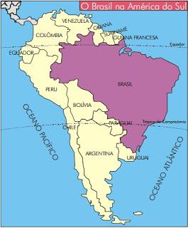 Brasil posição geografica América do Sul