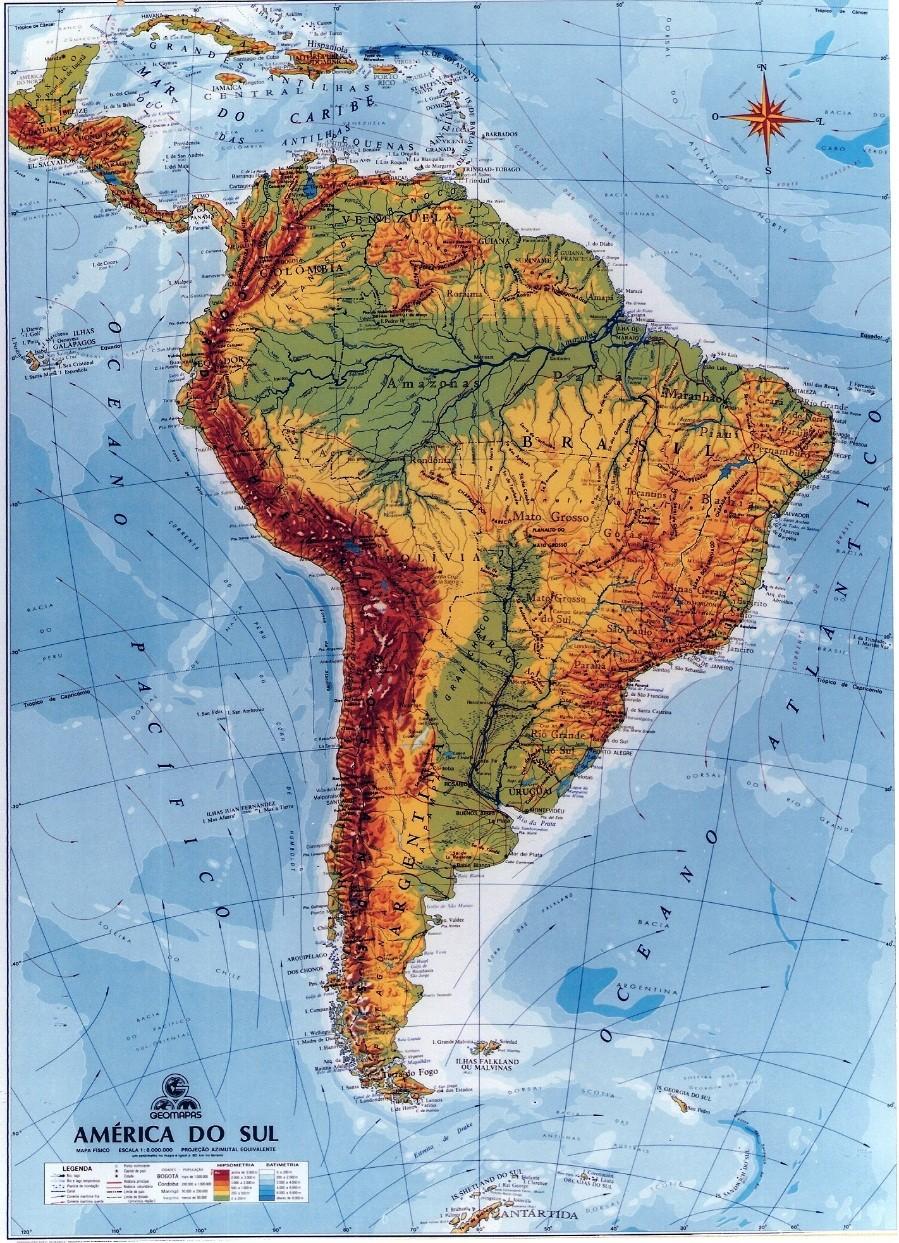 Rios e bacias hidrográficas características da América do Sul