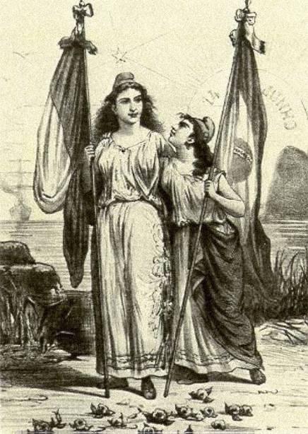 Ilustração representando a república brasileira ao lado da francesa - República velha.