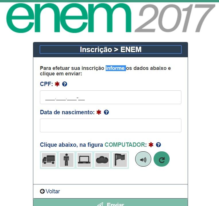 Inscrição Enem 2017
