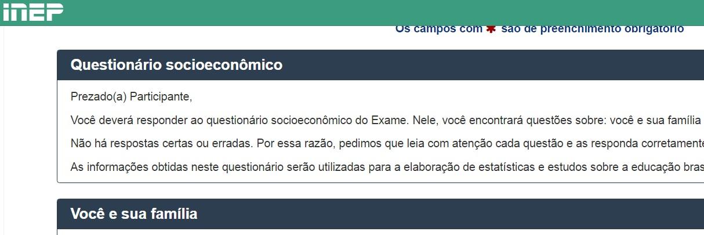 página do questionário socioeconômico da inscrição do enem 2019