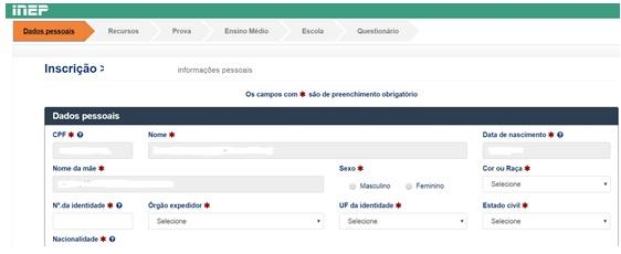 página de dados pessoais da inscrição enem 2019