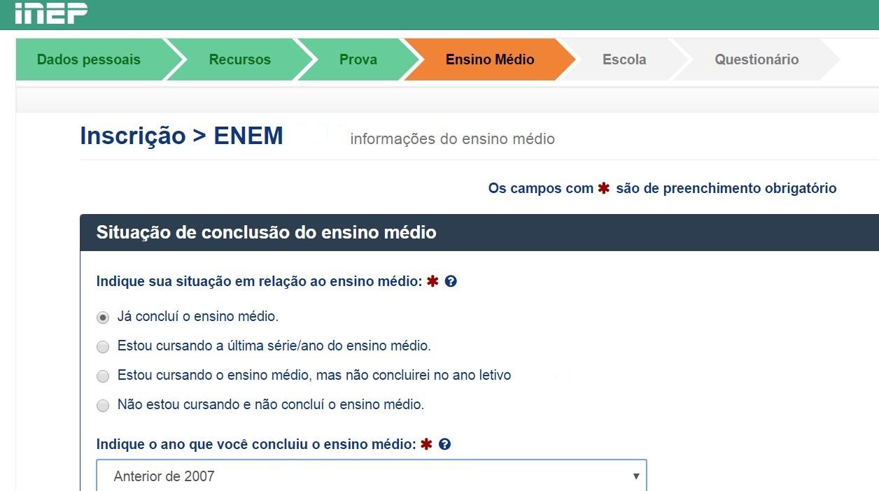 página de informação sobre a situação de conclusão do ensino médio