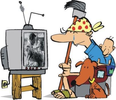 indústria cultural, novela, televisão, charge