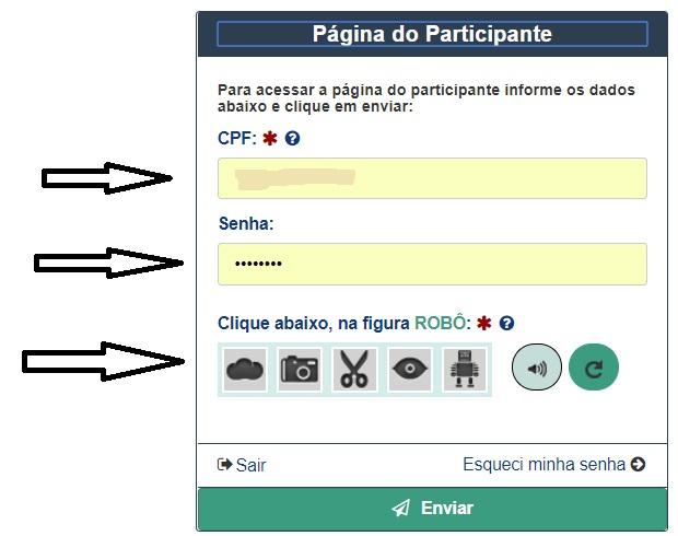 Página do participante do Enem