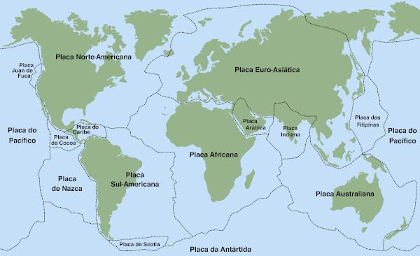 Mapa das placas tectônicas