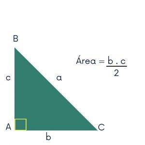 como calcular a área do triângulo retângulo