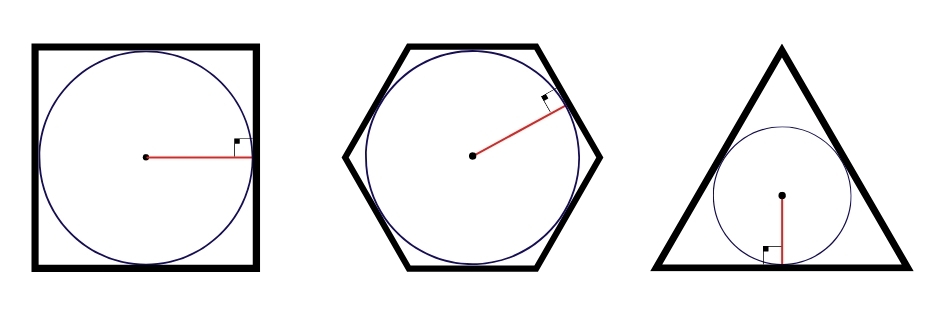 Apótema de quadrado, hexágono e triângulo
