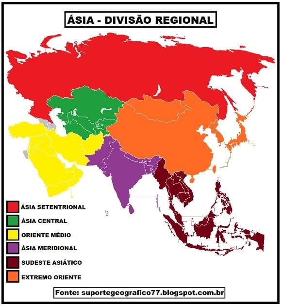 Mapa das regiões da Ásia