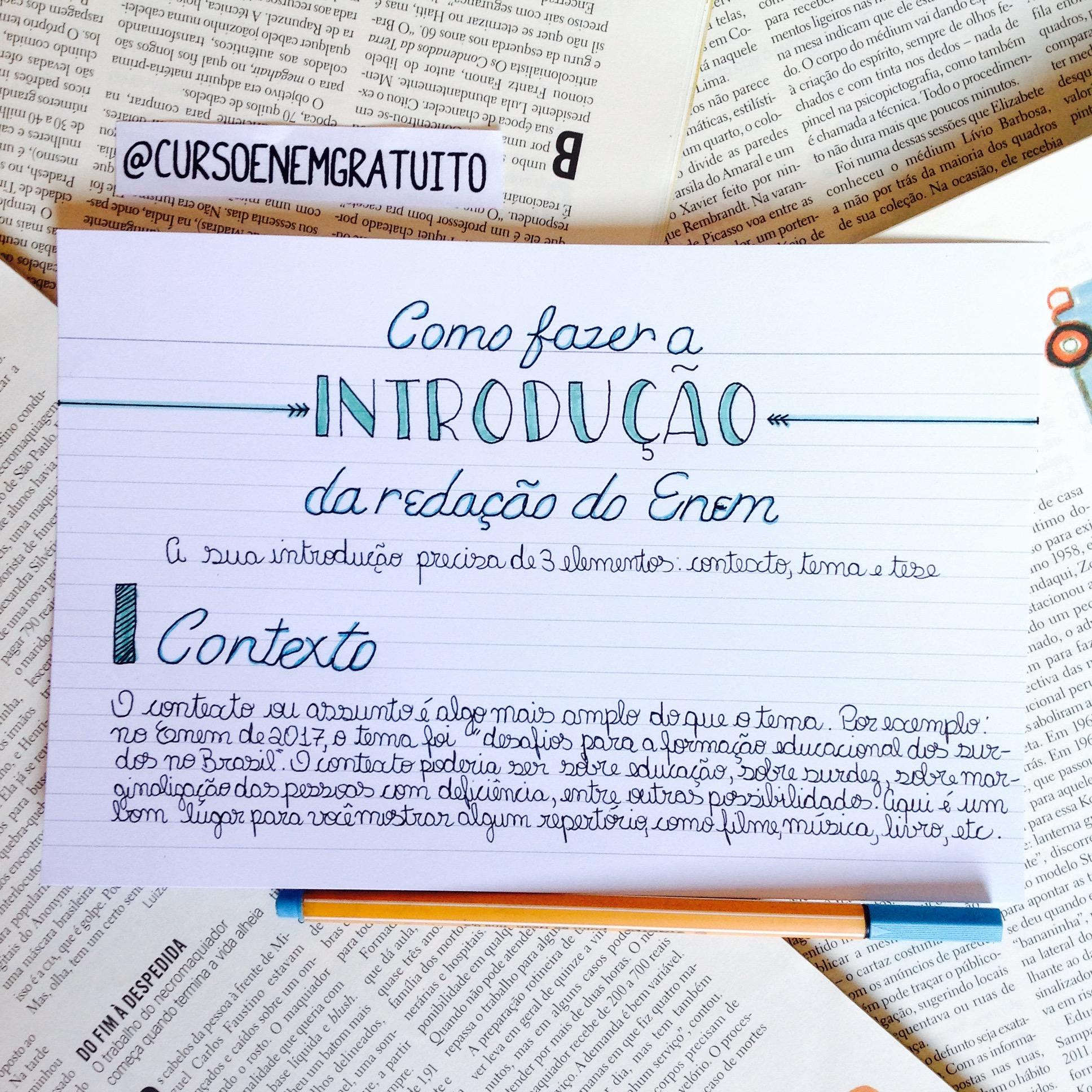 Como fazer a introdução da redação - Contexto