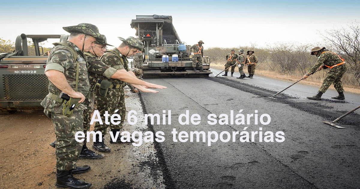 Seletivo Exército: até 6 mil de salário no Grupamento de Engenharia