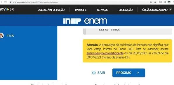 Data do Enem na página do participante