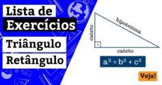 Exercícios sobre triângulo retângulo