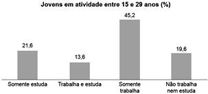 Gráfico jovens em atividade - porcentagem